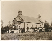 Photograph of large group of people along the side of St. Joseph's Church