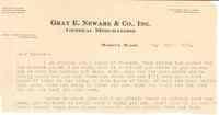 Letter on Gray E. Newark & Cp., Inc. stationary to Minnie